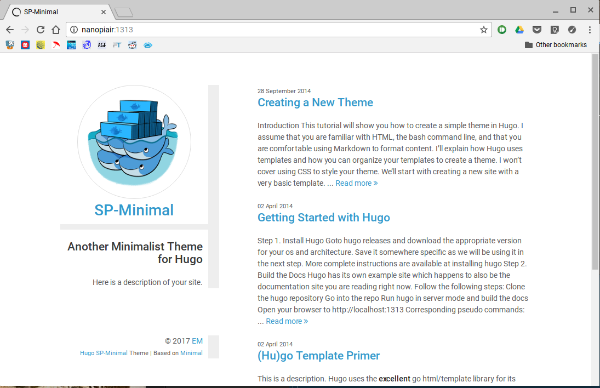 The SP-Minimal theme example site.