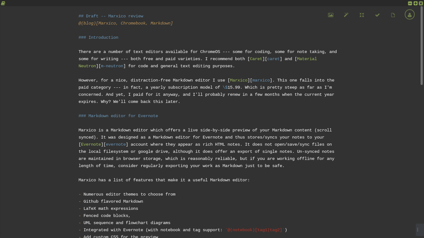 Marxico: a Markdown editor for Evernote · Flux°One